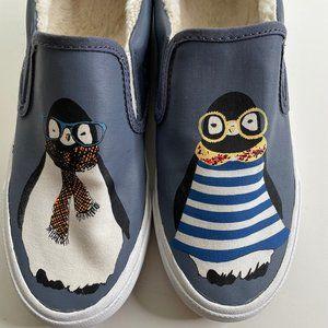 BucketFeet Hipster Penguin Faux Fur Canvas Slip On